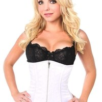 Daisy Corsets Top Drawer White Satin Underbust Steel Boned Corset