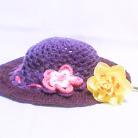 Purple Crochet Summer Hat Womens Hat Sun Hat Sun Beach Hat Sun Floppy Hat Hats Hand crocheted Crochet flower Flowers Accessory Accessories