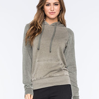 Full Tilt Essential Colorblock Womens Pullover Hoodie Olive  In Sizes