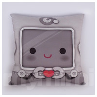 "12 x 12"" Decorative Pillow, Robot Heart Pillow, Throw Pillow, Kawaii Robot, Children's Cushion, Kids Bedroom, Boys Room Decor"