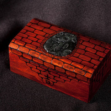 box, wooden box, jewelry box, chinese dragon, custom box, keepsake box, casket, chest, dragon, japanese character, carved stone, luck