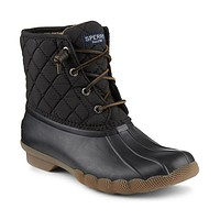 Women's Saltwater Quited Duck Boot in Black by Sperry - FINAL SALE
