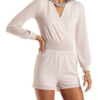 Glitter Long Sleeve Wrap Romper by Charlotte Russe - Blush