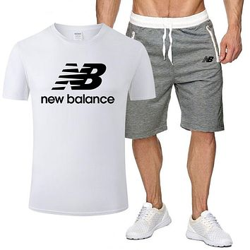 New Balance Fashion Men Casual Print Short Sleeve Top Shorts Set Two-Piece White