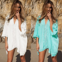 Hot Popular Lace Floral Printed Beach Outerwear Jacket Bikini Swim Suit Beach Bathing Suits Swimwear _ 12842