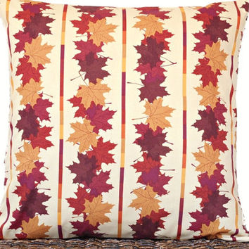 Fall Leaves Pillow Cover Cushion Autumn Mustard Brown Rust Purple Stripes Decorative 18x18
