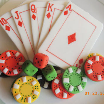 Edible Poker cake and cupcake Toppers: Playing cards, Tokens and dice , made of Fondant and Gum paste