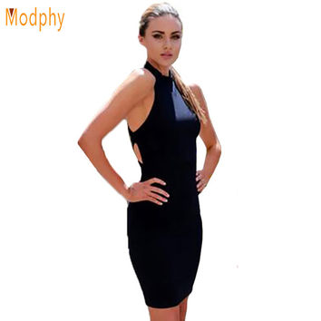 2017 new women sexy summer backless bandage dress rayon halter open back mini dress black white sheath club party dresses HL597