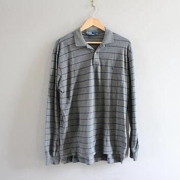 Ralph Lauren Polo Shirt Grey Stripe Cotton Knit Classic Polo Button Up Long Sleeve Tee
