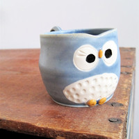 Hooter Owl Mug Austin in Stone Cold Blue by ArtHausCeramics