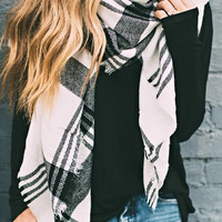 Alissa Black and White Plaid Blanket Scarf