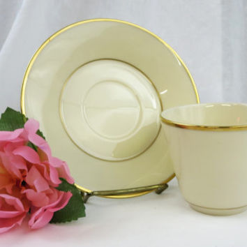 Fine Lenox China, Lenox Reverie Cup and Saucer Set, White with Gold Trim, Vintage Lenox China, Wedding Gift, Fine China made in the USA