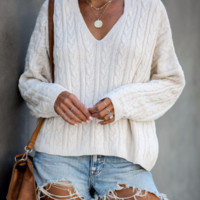 Casual solid color sweater Ebay explosion sexy loose V-neck sweater women