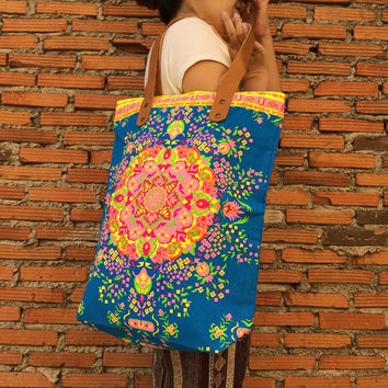 Beach totes Tote bag Canvas Boho Hippie Beach Travel Bag Paint bag Woman bags Tribal bag Neon Summer bag Hippie bag Weekender bag Purse.