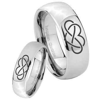 His Her Classic Mirror Dome Infinity Love Tungsten Carbide Silver Rings Set