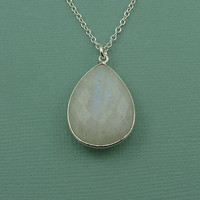 Large Moonstone Necklace - sterling silver gemstone jewelry - large moonstone pendant - goddess jewelry