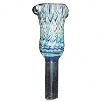 Glass Slide Bowl - Fume on Worked Colored Glass - Blue