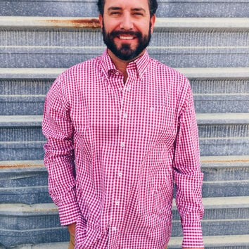 Southern Tide Broughton Gingham Sport Shirt- Sangria
