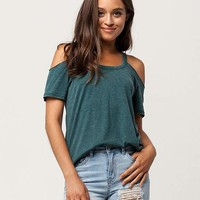 OTHERS FOLLOW Womens Cold Shoulder Top | Knit Tops + Tees
