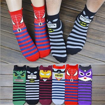 Hot sale! women cartoon socks autumn-winter superman spider-man Colorful cartoon novelty soks lady and women cotton sock