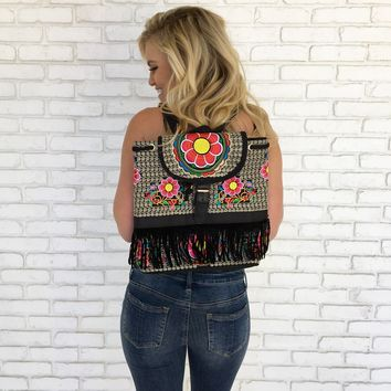 Como La Flor Fringe Backpack