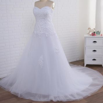 Mermaid Wedding Dresses Big Women Sweetheart Sleeveless Beaded Sequin Applique Tulle Bridal Gown Lace-up Back