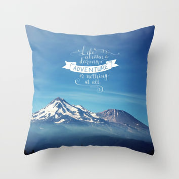 daring adventure Throw Pillow by Sylvia Cook Photography