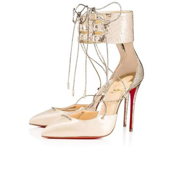 NIB Christian Louboutin Corsankle 100 Gold Lace Up Tie Ankle Strap Heel Pump 38