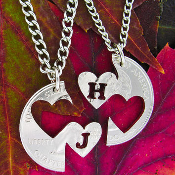 Double Heart relationship set with initials hand cut by NameCoins