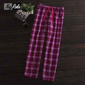 Plus size 100% brushed cotton women sleep bottoms ladies Hot sale spring Female plaid pajamas pants woman trousers for women