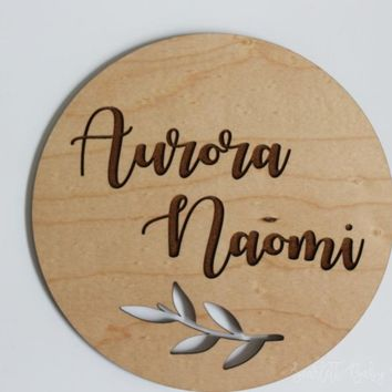 Engraved Baby Name Sign | Floral Wood Name Sign | Round Name Sign | Newborn Announcement Sign |