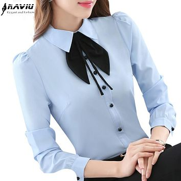2017 Spring new women clothing long sleeve shirt OL elegant bow tie Formal chiffon blouse office ladies plus size work wear tops