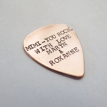 Personalized Guitar Pick - Copper - Mens- Dad, Father, Son, Music, 7th Anniversary, Grandpa, Friend, Brother - HUsband  - Boyfriend - Couple