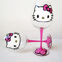 hello kitty wine glasses – pink stems – hand painted – 20 oz
