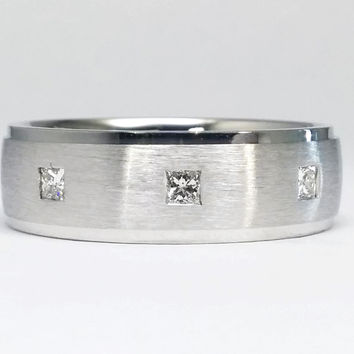 Wedding Band - Square Cut Diamond Mens Wedding Ring Brushed White Gold