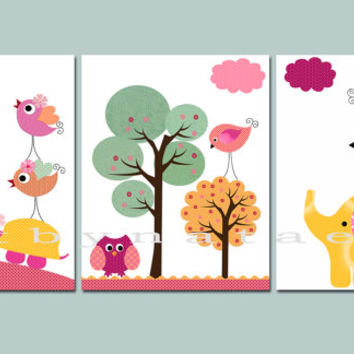 Childrens Art Kids Art Kids Wall Art Baby Girl Room Decor Baby Nursery Art set of 3 Baby Girl Nursery Rose Pink Yellow Owl Decoration