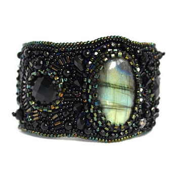 Black Bead Embroidered Labradorite Bracelet Seed Bead Cuff Bead Embroidery Bracelet Beadwork Bracelet Bead Embroidered Jewelry Gift for her