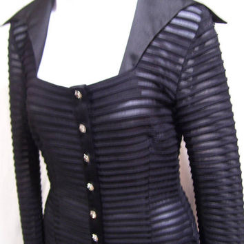 Evening Top, Black, Sheer Knit, Ribbed Stretch, Special Occasion, Party Cocktail, Resort Cruise Wear, JS Collection, Petite, Size 2