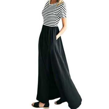 Women's Summer Striped Dress Short Sleeve O-Neck Maxi Long Dress Plus Size Female Striped Casual Maxi Dresses with Pocket GV577