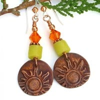 Summer Sun Handmade Earrings, Copper Yellow Tangerine Orange Jewelry for Women