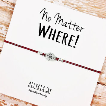 "Silver Compass Friendship Bracelet with ""No Matter Where"" Card 