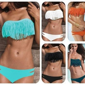 DCCKIX3 Hot Sale Swimwear Women Padded Boho Fringe Bandeau Bikini Set New Swimsuit Lady Bathing suit = 1946101252