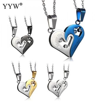 YYW Stainless Steel Mens Womens Couple Necklace Pendant Heart Love I love you Pendants Necklaces Puzzle Matching Fashion Jewelry