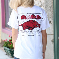 Arkansas Razorback Evolution of the Hog Tee {White}
