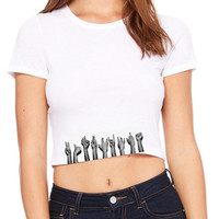 Rock n roll hand crop top movie Tshirt Screenprinted Apparel Brandy Melville Inspired Design Clothing Unisex Adults Women Tees