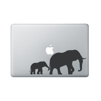 Elephant & baby Laptop Decal - Elephant Macbook Decal with baby - Laptop Sticker