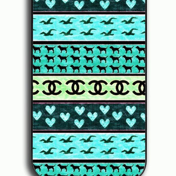 iPhone 4S Case - Rubber (TPU) Cover with red hollister seagulls chanel sign hearts stripes Rubber Case Design