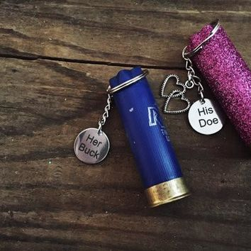 His Doe, Her Buck Bullet Keychain Set