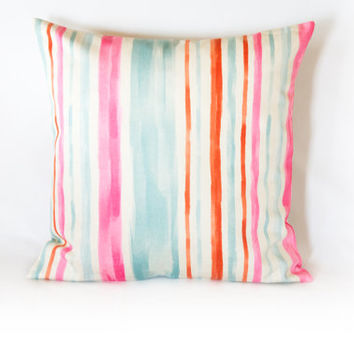 20x20 inches Colorful Striped Decorative Pillow, Cushion Cover, Cotton Pillow Case, Handmade Pillow Case,Two Side Pillow