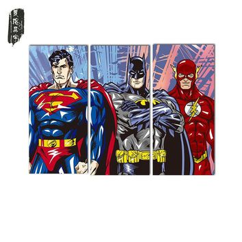 Batman Dark Knight gift Christmas 3PCS Superman Batman Wall Oil Painting Poster Christmas decorative painting Canvas paintings Art Wall Pictures for Living Room AT_71_6
